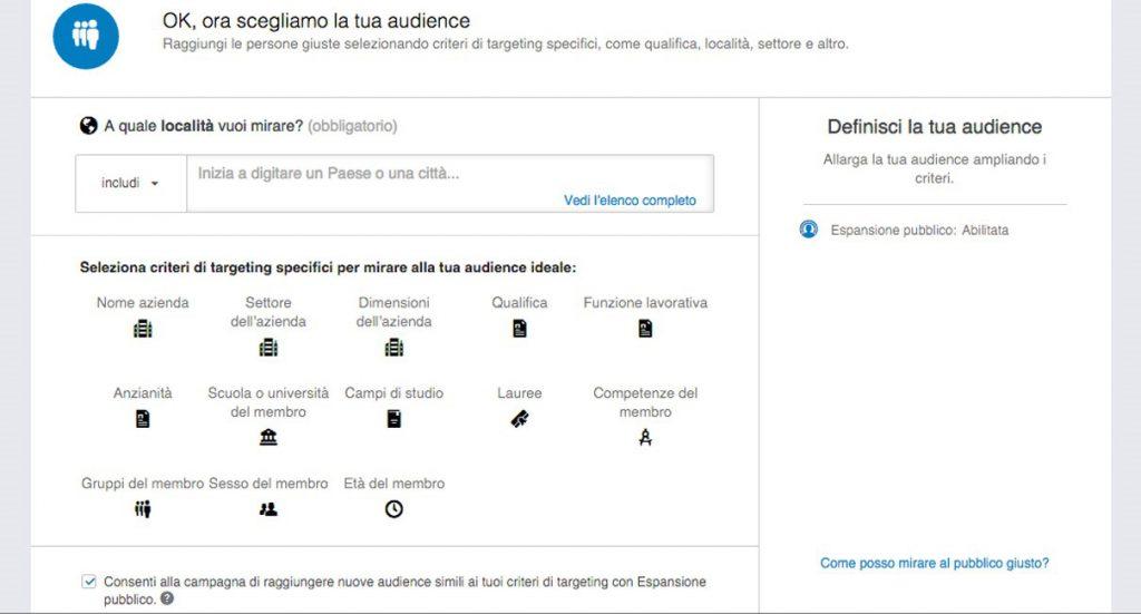 Criteri di targeting - pubblicità su LinkedIn